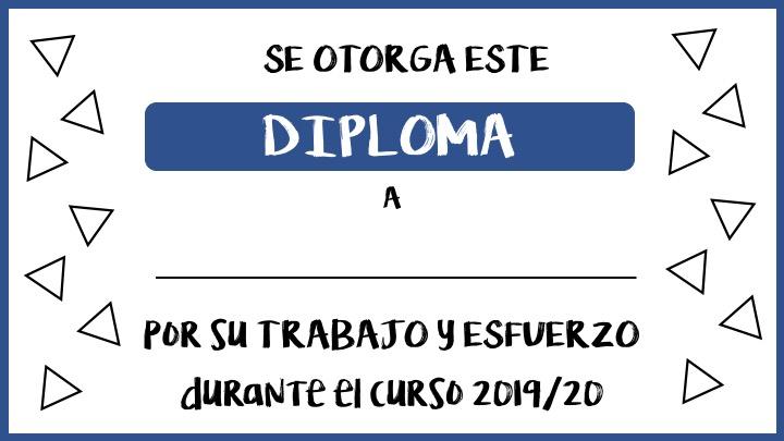 Diplomas gratuitos de fin de curso por el trabajo y esfuerzo realizados durante todo el curso escolar.